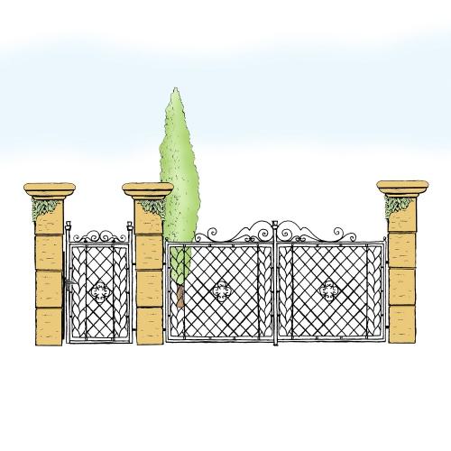 Eisentor und Eisentür Anlage für Hof & Garten * SG-002 / Portone und Portoncino