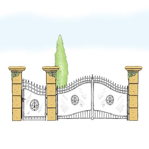 Eisentor und Eisentür Anlage für Hof & Garten * SG-011 / Portone und Portoncino