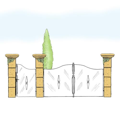 Eisentor und Eisentür Anlage für Hof & Garten * SG-019 / Portone und Portoncino