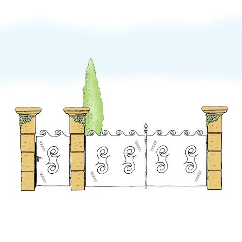 Eisentor und Eisentür Anlage für Hof & Garten * SG-023 / Portone und Portoncino