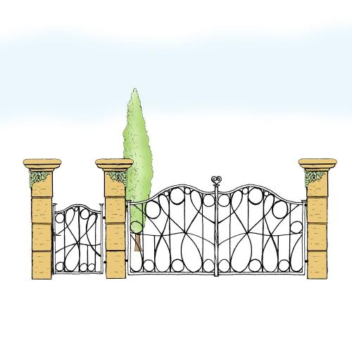 Eisentor und Eisentür Anlage für Hof & Garten * SG-025 / Portone und Portoncino