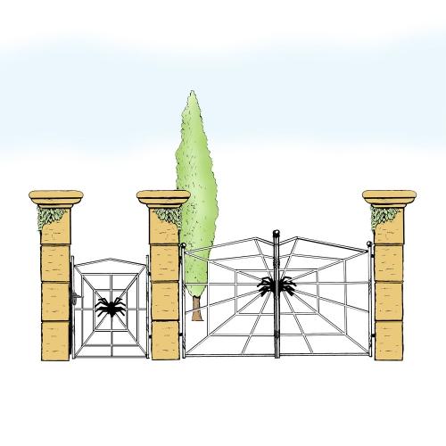 Eisentor und Eisentür Anlage für Hof & Garten * SG-031 / Portone und Portoncino