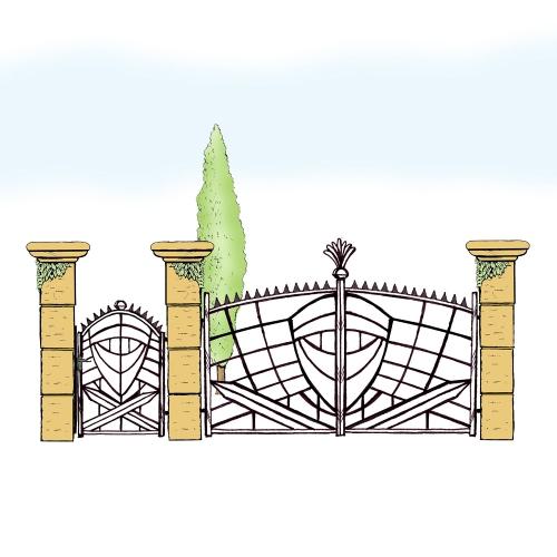 Eisentor und Eisentür Anlage für Hof & Garten * SG-038 / Portone und Portoncino
