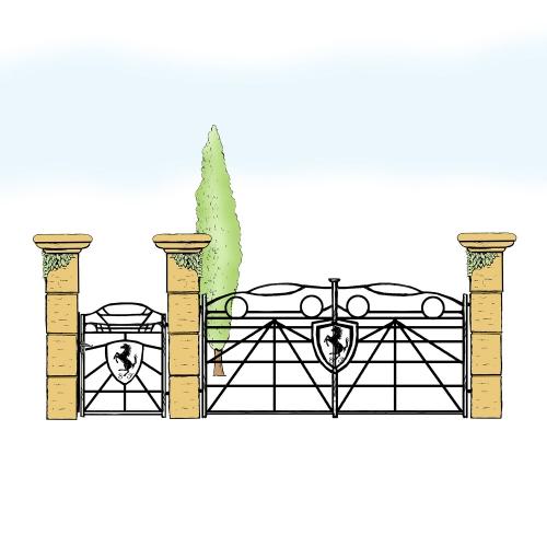 Eisentor und Eisentür Anlage für Hof & Garten * SG-040 / Portone und Portoncino